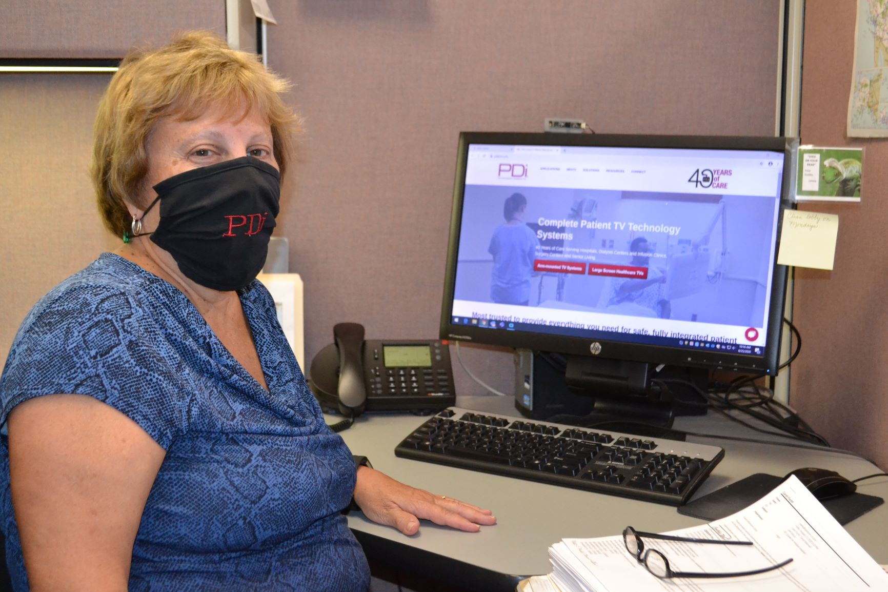 MR PDi COVID Safe Practices Mask in Office Carol