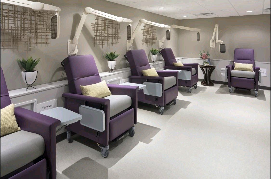 Clinic Arm Systems by PDi w Purple Chairs