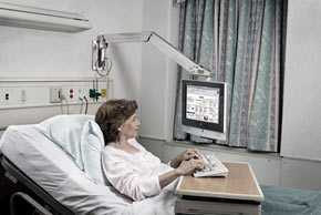 First interactive hospital computer-controlled television system.